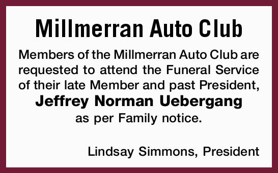 Members of the Millmerran Auto Club are requested to attend the Funeral Service of their late Mem...