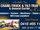 Casino CRANE-TRUCK & TILT-TRAY & General Carrier Hire