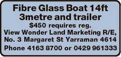 Fibre Glass Boat 14ft 3metre and trailer $450 requires reg. View Wonder Land Marketing R/E, No. 3 Ma...