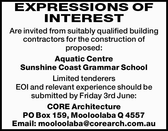EXPRESSIONS OF INTEREST Are invited from suitably qualified building contractors for the construc...
