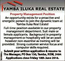 6342955aa Property Management Position An opportunity exists for a proactive and energetic person to...
