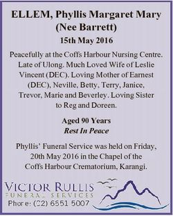 ELLEM, Phyllis Margaret Mary (Nee Barrett) 15th May 2016 Peacefully at the Coffs Harbour Nursing Cen...