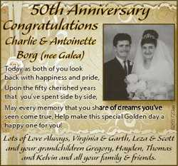 50th Anniversary Congratulations Today as both of you look back with happiness and pride, Upon the f...