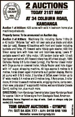 2 AUCTIONS TODAY 21ST MAY AT 34 COLBURN ROAD, KANDANGA Auction 1 at 9:00am: 422 acres with solid 4 b...