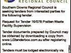 Southern Downs Regional Council is seeking tenders from interested parties for the following tender. Request for Tender 16/078 Pratten Waste Facility Supervision Tenders must be lodged electronically via LGTenderbox by 2pm AEST, Tuesday 14th June 2016 Regulation 228(7) of the Local Government Regulation 2012, relating to changes to ...
