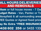 ALL HOURS DELIEVERIES AND REMOVALS