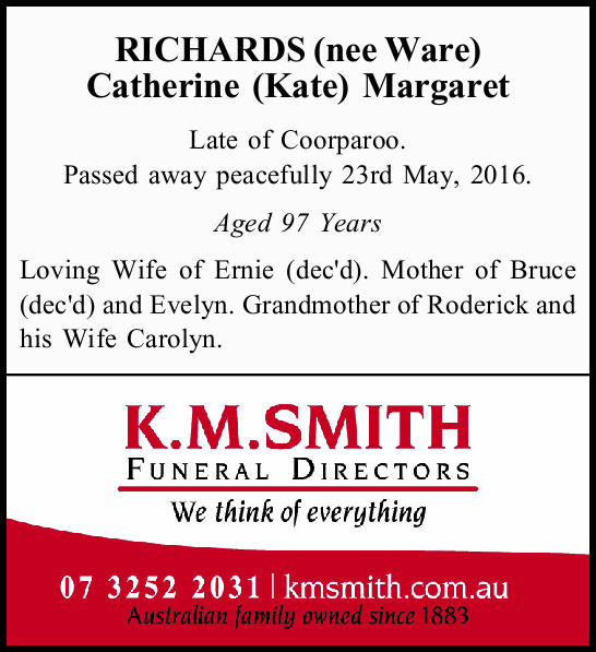 Late of Coorparoo. Passed away peacefully 23rd May, 2016. Aged 97 Years Loving Wife of Erni...
