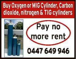 Buy Oxygen or MIG Cylinder, Carbon dioxide, nitrogen & TIG cylinders Pay no more rent 0447 649 9...