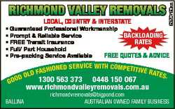 local, country & interstate 6320760aa richmond valley removals * Guaranteed Professional Workman...