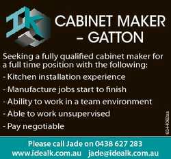 Seeking a fully qualified cabinet maker for a full time position with the following: - Kitchen insta...