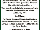 THEA GAIA Formerly Dorothy Ivy Wacker Beloved Daughter of Anne and George Wacker (both dec'd) of Gatton, Queensland. Sister of Mavis (dec'd) Kevin and Barry. Thea passed peacefully in the presence and loving care of her devoted friends in Canberra on 15th May 2016. Aged 85 years The ...