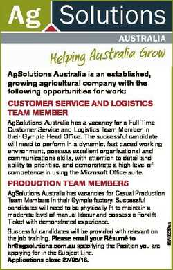 AgSolutions Australia is an established, growing agricultural company with the following opportuniti...