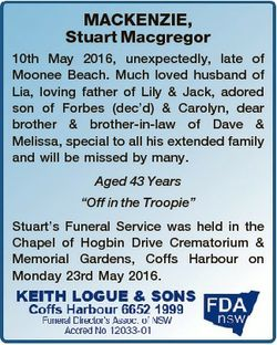 MACKENZIE, Stuart Macgregor 10th May 2016, unexpectedly, late of Moonee Beach. Much loved husband of...