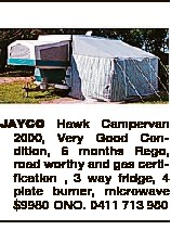 JAYCO Hawk Campervan 2000,
