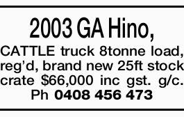 2003 GA Hino, CATTLE truck 8tonne load