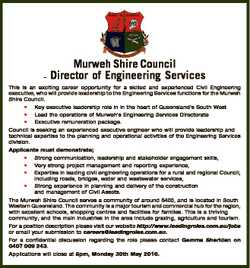 - Murweh Shire Council Director of Engineering Services This is an exciting career opportunity for a...