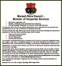 Murweh Shire Council - Director of Corporate Services * Executive Leadership role * Diverse, challen...