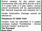 CALL FOR TENDERS SCHOOL CANTEEN LICENCE