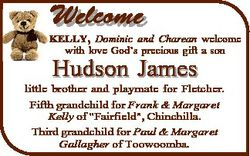 Welcome KELLY, Dominic and Charean welcome with love God's precious gift a son Hudson James litt...