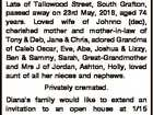 JOHNSON (nee QUINLAN), Diana Marianne Late of Tallowood Street, South Grafton, passed away on 23rd May, 2016, aged 74 years. Loved wife of Johnno (dec), cherished mother and mother-in-law of Tony & Deb, Jane & Chris, adored Grandma of Caleb Oscar, Eve, Abe, Joshua & Lizzy, Ben & Sammy, Sarah, Great-Grandmother and Mrs J ...