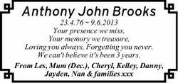Anthony John Brooks 23.4.76 ~ 9.6.2013 Your presence we miss, Your memory we treasure, Loving you...