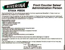 Riverina (Australia) Pty Ltd currently has an opportunity for an experienced Sales/Admin Person to j...