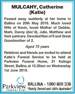 MULCAHY, Catherine (Katie) Passed away suddenly at her home in Ballina on 20th May 2016. Much loved...