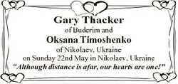Gary Thacker of Buderim and Oksana Timoshenko of Nikolaev, Ukraine on Sunday 22nd May in Nikolaev, U...