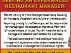 Seeking an experienced reStaurant Manager! We are looking to hire a Manager specifically focusing on managing the growth and culture of the restaurant. The ideal candidate will hold previous hospitality management experience have relevant experience and qualifications in Management (Diploma or higher). 6354694aa Reporting directly to the Owner you will ...