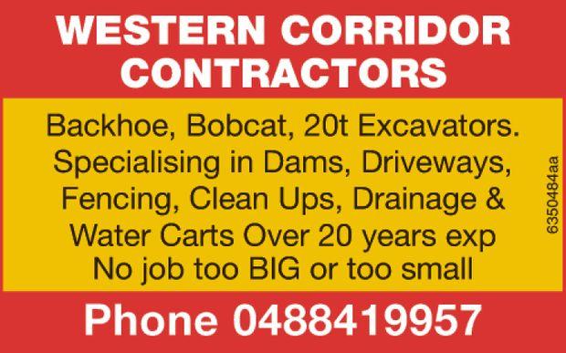 Backhoe, Bobcat, 20t Excavators   Specialising in Dams, Driveways, Fencing, Clean ups, Draina...