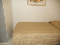 honey colour fabric. cotton lined. commercial size, long enough to tuck pillow under. I don't have s...