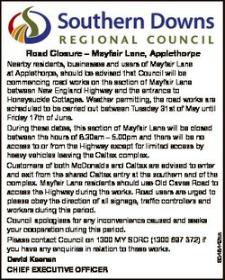 Road Closure - Mayfair Lane, Applethorpe 6348442aa Nearby residents, businesses and users of Mayfair...