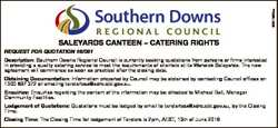 6351562aa SALEYARDS CANTEEN - CATERING RIGHTS REQUEST FOR QUOTATION 16/081 Description: Southern Dow...