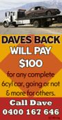Daves Back Will pay $100 for any complete