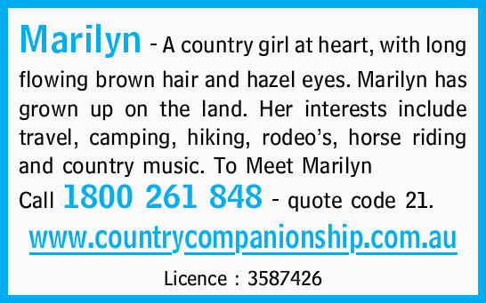 Marilyn - A country girl at heart, with long flowing brown hair and hazel eyes. Marilyn has grown...