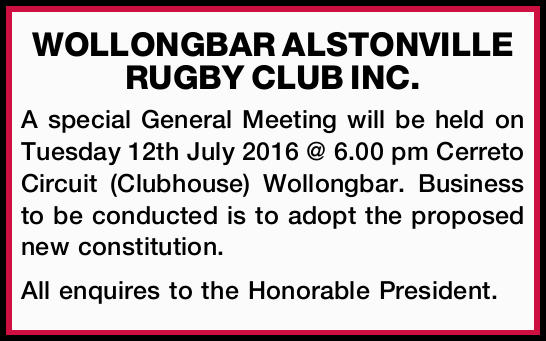 WOLLONGBAR ALSTONVILLE RUGBY CLUB INC. 