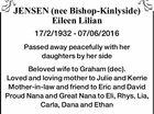 JENSEN (nee Bishop-Kinlyside) Eileen Lilian