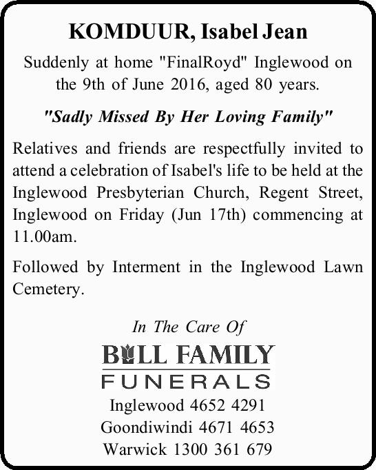 """Suddenly at home """"FinalRoyd"""" Inglewood on the 9th of June 2016, aged 80 years. &q..."""