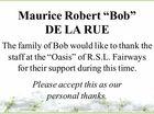 """Maurice Robert """"Bob"""" DE LA RUE"""