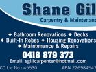 SHANE GILL CARPENTRY AND MAINTENANCE