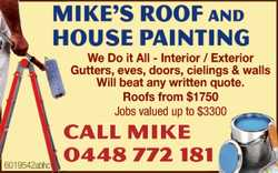 We do it all Interior / Exterior Gutters, eves, doors, cielings & walls Will beat any written...
