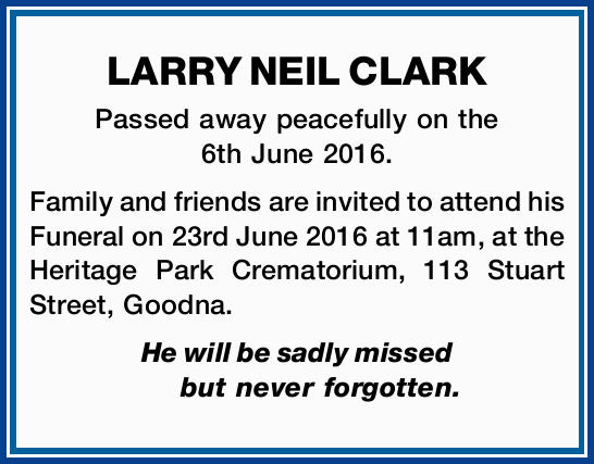Passed away peacefully on the 6th June 2016.   Family and friends are invited to attend his F...