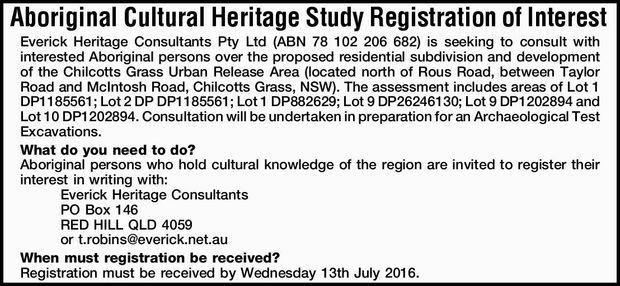 Aboriginal Cultural Heritage Study Registration of Interest Everick Heritage Consultants Pty Ltd...