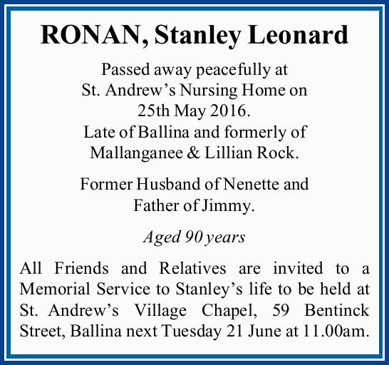 Passed away peacefully at St. Andrew's Nursing Home on 25th May 2016. Late of Ballina...