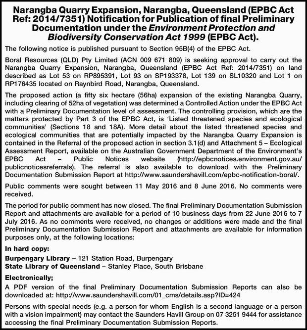 Narangba Quarry Expansion, Narangba, Queensland (EPBC Act Ref: 2014/7351) Notification for Public...
