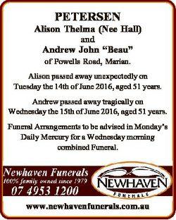 "PETERSEN Alison Thelma (Nee Hall) and Andrew John ""Beau"" of Powells Road, Marian. Alison p..."