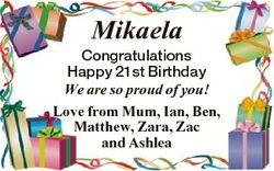 Mikaela Congratulations Happy 21st Birthday We are so proud of you! Love from Mum, Ian, Ben, Matthew...