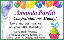 Amanda Parfitt Congratulations Mandy! Love and best wishes on your 50th Birthday! Love from Rodne...