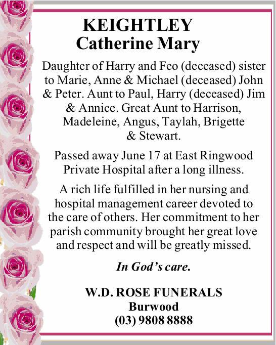 Daughter of Harry and Feo (deceased) sister to Marie, Anne & Michael (deceased) John & Pe...