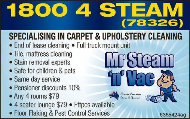 Mr Steam n Vac   Call 1800 4 STEAM (78326)   22 year exp.